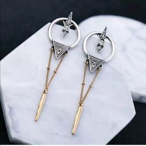 Gold and Silver Modern Geometric Dangle Earrings